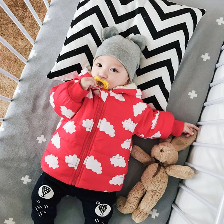 745400f3aa240 Baby Toddler Kids Infant Newborn Coat Warm Thicken Parka Clouds Ears ...