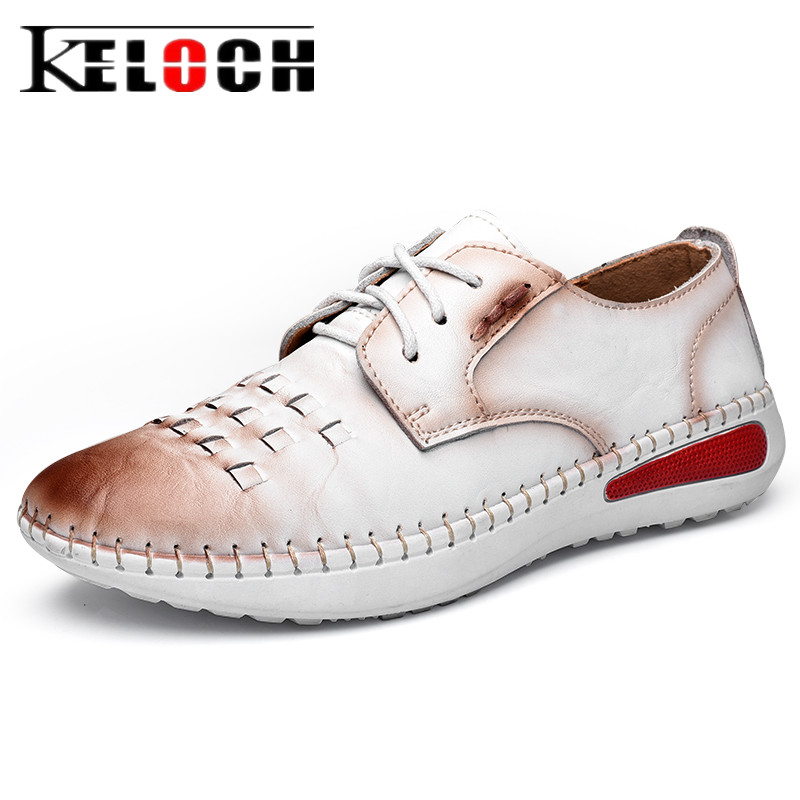 Keloch Designer Women Flats Shoes Ladies Casual White Genuine Leather Shoes Soft Fashion Oxfords Women Chaussure Femme zdrd women casual shoes high quality designer genuine slipony flats women loafers shoes chaussure femme ballet flats boat shoes
