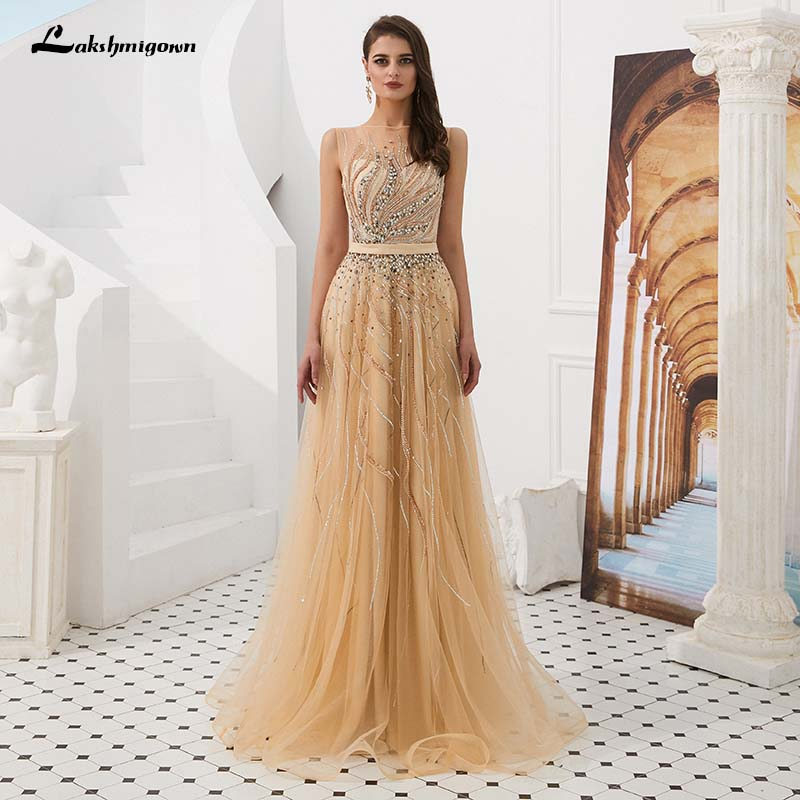 Elegant A line Evening Gown Long Tulle See Through Formal Dresses robe de soiree 2019 Customized