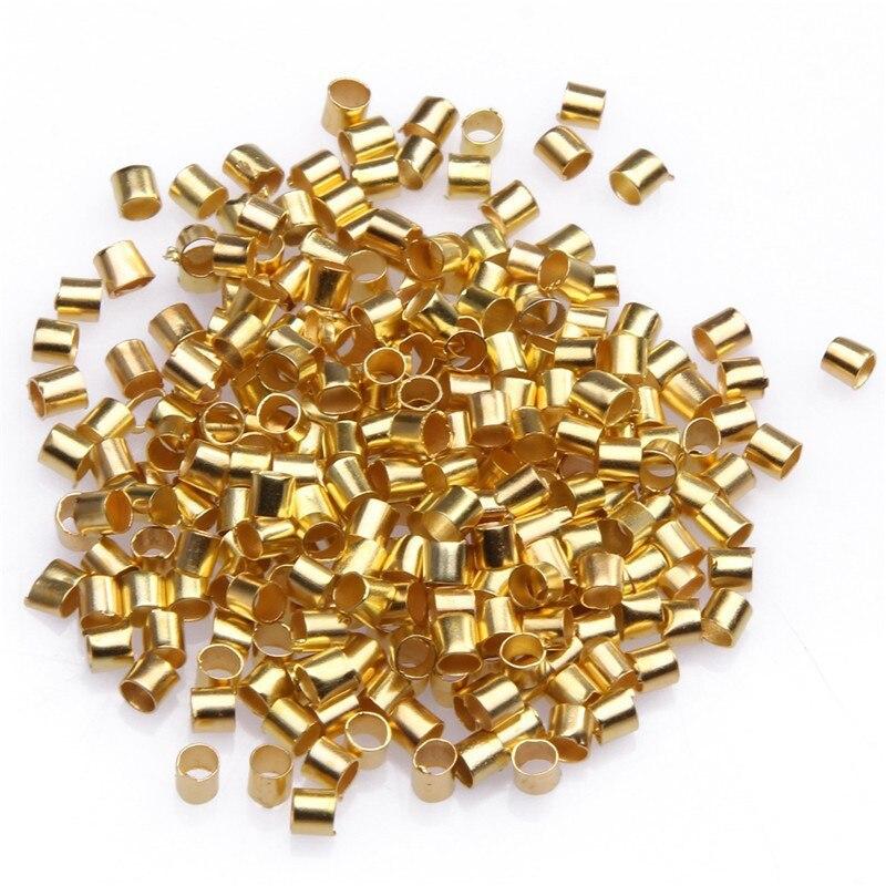 500pcs/1000pcs 1.5mm Metal Jewelry Connector Tube Crimp End Beads Bracelet Necklace Making DIY Handmade Findings Wholesale 1000pcs 1 4w metal film resistors 750kohm 1
