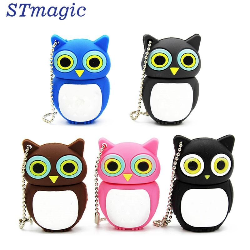 STmagic cute Cartoon animal owl pendrive 4GB 8GB 16GB 32GB Stick USB Flash Drive cute cartoon tomato doll usb flash drive red green 8gb