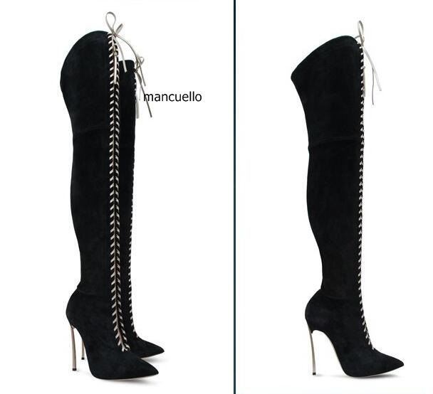 Fancy Black Suede Cross Strap Lace Up Long Boots Women Sexy Metal Thin High Heel Over The Keen High Boots Trendy Pointed ToeBoot no one writes to the colonel