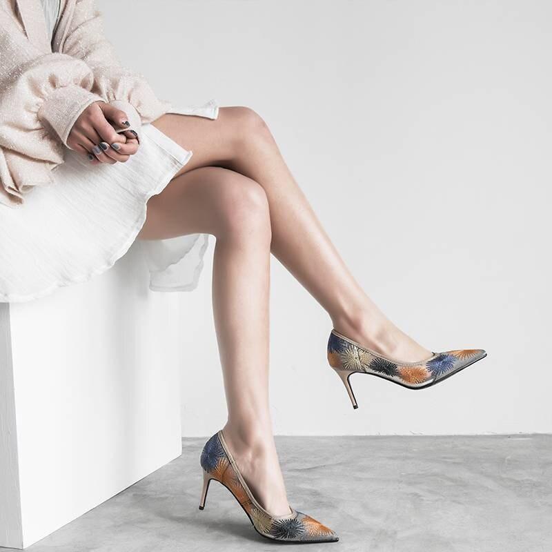 Oxford Altos Elegante Tacones Saliendo Olla Moda L27 Pie Krazing Dedo Y Beige Stiletto Zapatos Del Mezclados Pista Deslizamiento La Puntiagudo Dama Las Colores Negro En Mujeres Con De Cv515wqzd