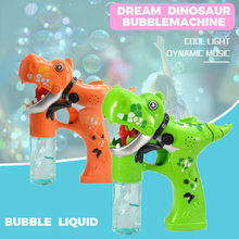 New Dinosaur Bubbles Shooter Gun Light Up Bubbles Blower with LED Flashing Lights and Sounds Dinosaur Toys for Kids 2019(China)