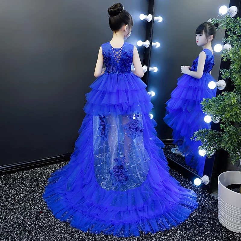 все цены на 2018 New Children Kids Luxury Red/Blue Color Lace Flowers Birthday Wedding Party Long Tail Dress Girls Evening Party Prom Dress онлайн