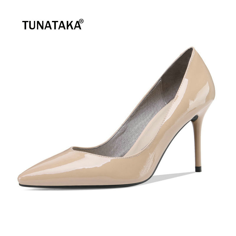 Otoño Mujeres Apricot Perezosos Tacón Zapatos Moda Genuino Alto UqUFr