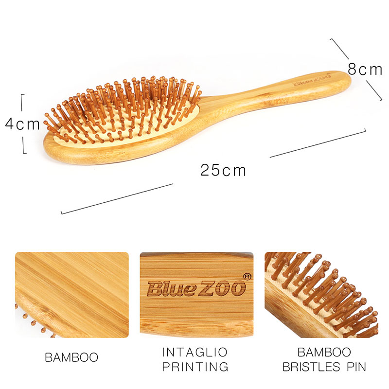 Hair Tools Natural Bamboo Hair Brush Wood Bamboo Bristles Pin Massage Comb Improve Hair Growth Prevent Hair Loss Dandruff Scalp
