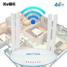 лучшая цена KuWfi 4G LTE  Router 300Mbps Wireless CPE Router 3G/4G LTE  Wifi Router With Sim Card Slot&4Pcs External Antenna Up 32Users