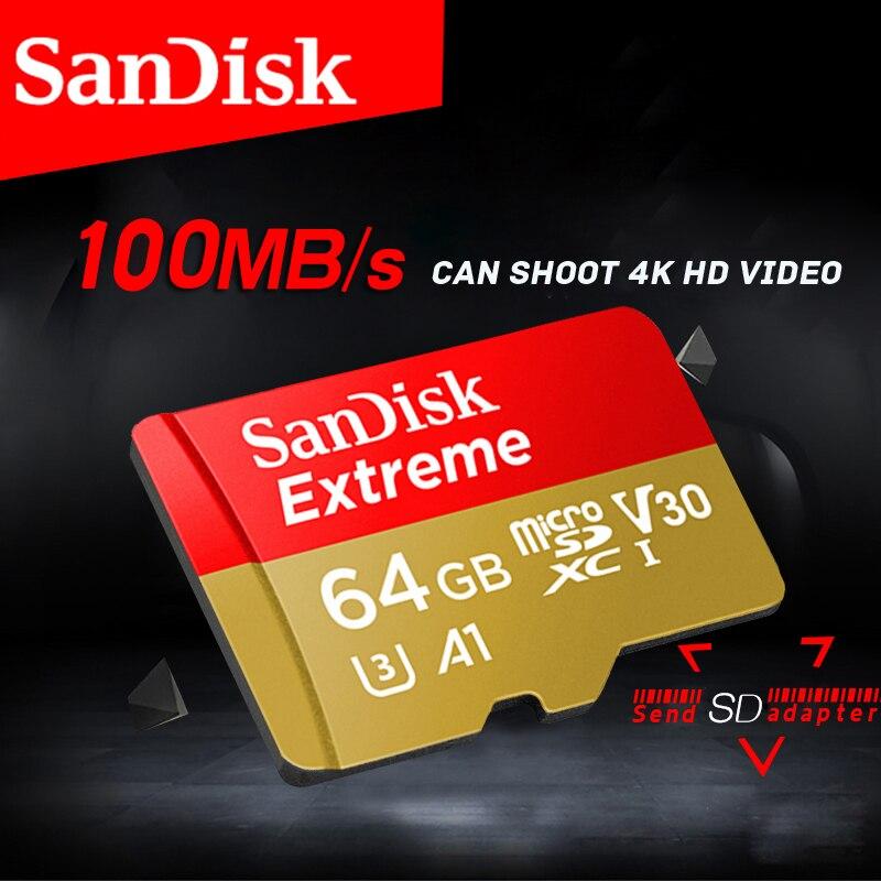 Micro sd carte 64 gb SanDisk Mémoire Extrême Carte microSD UHS-I microSDXC Class10 U3 100 mb/s 32 gb 64 gb support de la Carte TF 4 k UHD