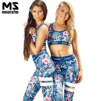Mooishe Summer Orchid Women Tracksuit Floral Printed Crop Top High Waisted Long Pants Trousers Workout Two