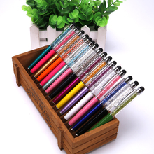 цена на 200pcs/lot Luxury Diamond Crystal point 2 in 1 Touch Screen Capacitive Stylus Ball Pen For Mobile Phone PC Tablet iPad