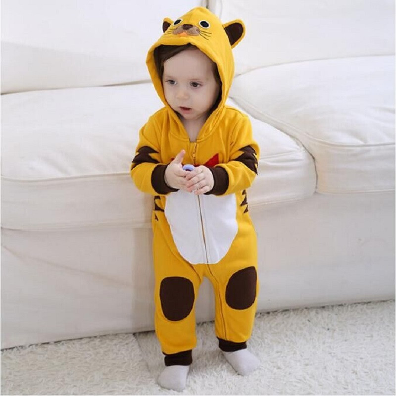 Androktones 2018 Spring Newborn Infant Baby Clothes Pure Cotton Romper Hooded Jumpsuit Tiger Onesie Cosplay Boys Girls Costume