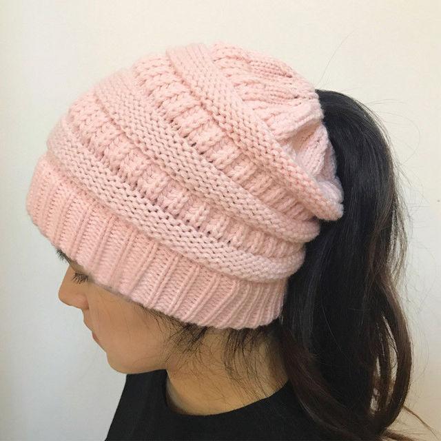 Mode Haar Loch Hut Frauen Häkeln Beanie Wolle Winter Warme Mütze