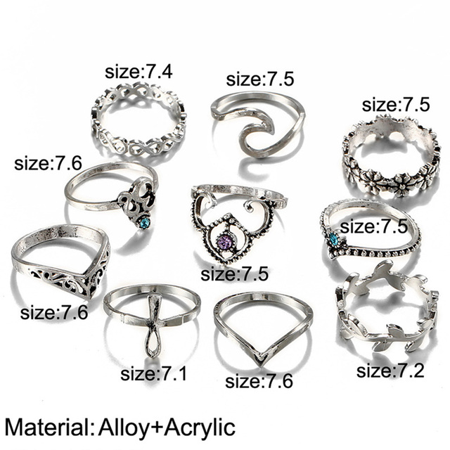 10pcs/Set Antique Silver Color Rhinestone Rings 1