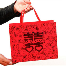 200pcs Lot New Design Chinese Style Red Double Hiness Paper Gift Bags For Wedding Packaging