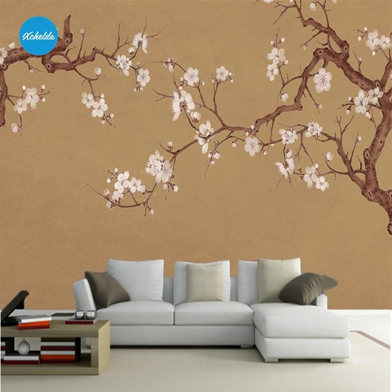XCHELDA Custom 3D Wallpaper Design White Peony Branches Brown Background Bedroom Living Room Wall Murals Papel De Parede