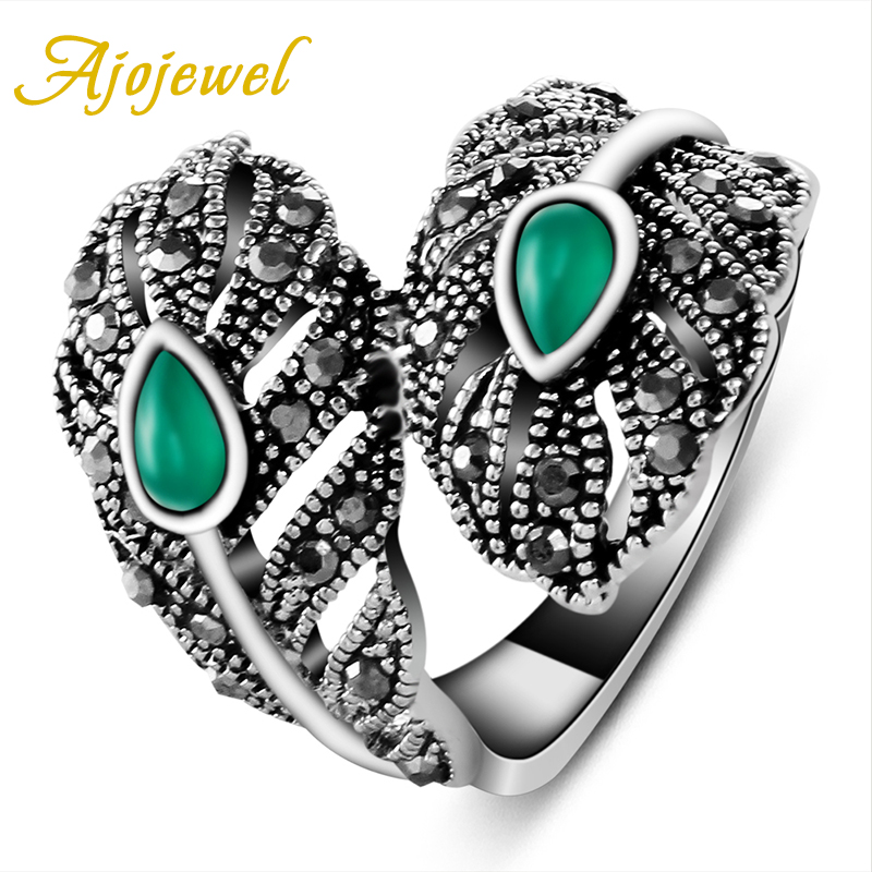 Ajojewel Brand Vintage Ladies Jewelry 18K White Gold Plated  Leaf Green Rings For Women (Size 7.8.9 )