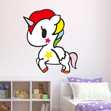 Cartoon Colorful Unicorn Wall Stickers For Kids Rooms Bedroom Removable Switch Art Decals Nursery Decor Home
