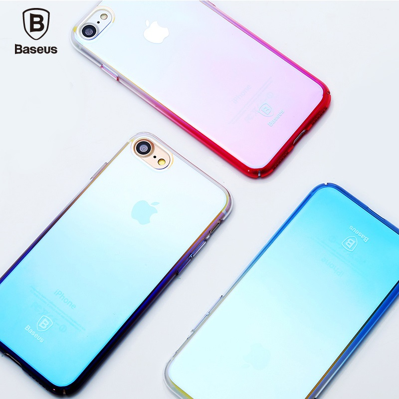 BASEUS i7 i7+ Glaze Case for Apple iPhone 7 7 Plus Gradient Color Glossy Hard Phone Cover 4.7'' 5.5'' Mobile Casing