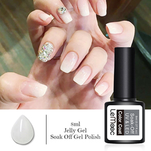 LEMOOC Opal Jelly Nail Gel Polish 8ml Semi-transparent White Pink Soak Off Manicure Art UV Led Lacquer