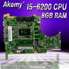 Akemy Q504UA материнская плата для ноутбука ASUS Q504UA Q504U Q504 тесты оригинальная плата 8 г оперативная память/I5-6200U процессор 90NB0BZ0-R00010