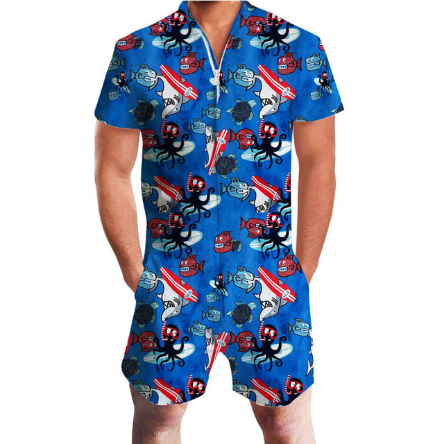 09c199ae1fb Hawaii Style 3d Rompers Short Sleeve Floral Print Men s Jumpsuit Playsuit  Harem Cargo Overalls Summer Beach One Piece Dropship