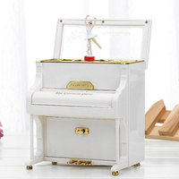 Creative Piano Music Box Jewelry Box Ornaments Rotating Ballerina Girl Music Box Desktop Crafts Home Decor Girl Birthday Gifts