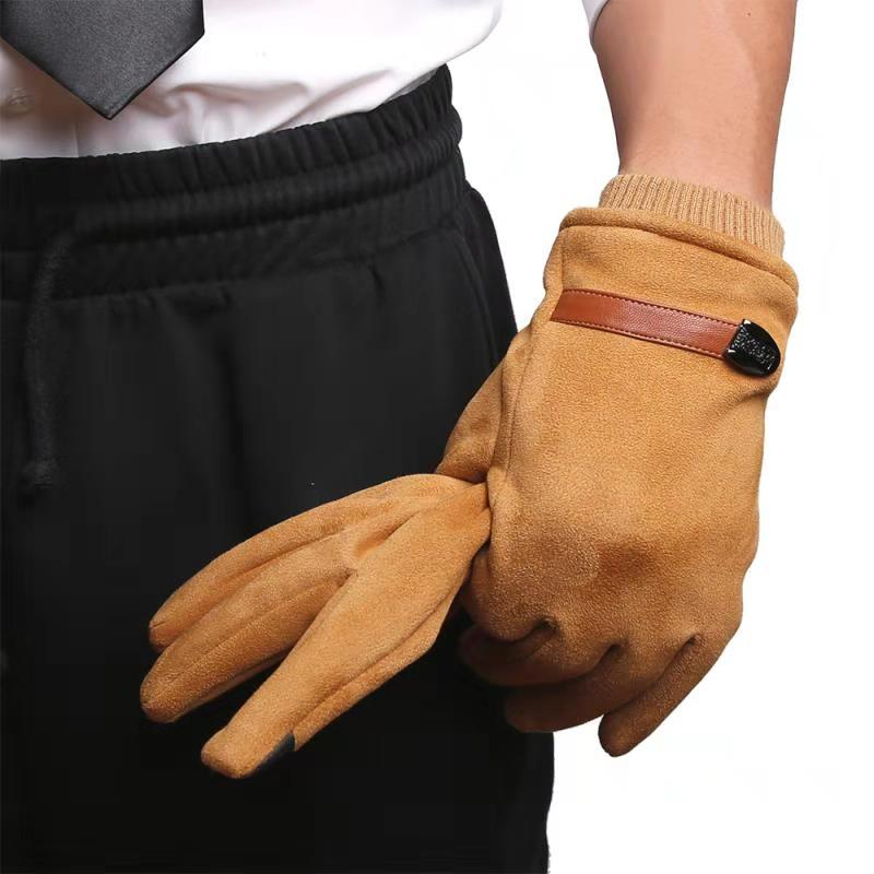 GOURS Winter Gloves Men Touch Screen Warm Driving Blend Suede Leather Gloves With Knit Wrist Cuffs New Arrival GSM060
