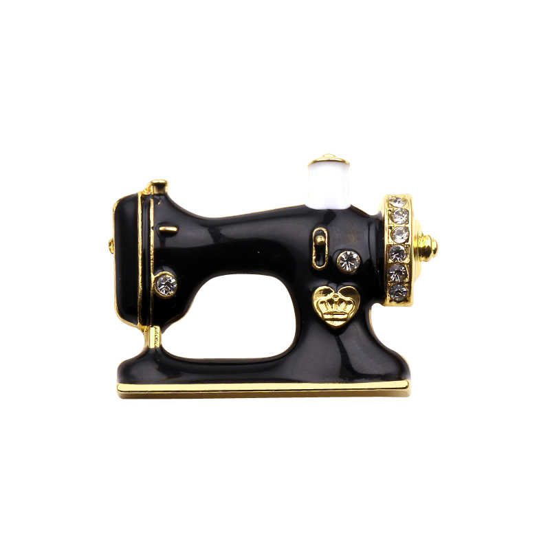 Hijab Pin Sewing Machine Brooch Black Enamel Sewing Badges Brooches For Women Gilr Fashion Jewelry Collar Suit Scarf Accessories