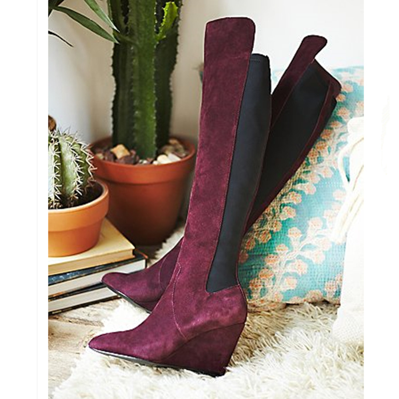 yanicuding Luxury Brand Round Toe Knee Boots Side Zip Design Shoe Wedges Height Increasing Flock Long Booties Women Winter Boots large size 34 41 simple leisure height increasing round toe zip women boots winter genuine leather solid knee high boots