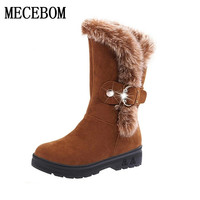 2016 New Fashion Women Boots Winter Waterproof Mid Calf Snow Boots Rabbit Fur Warm Buckle Snow