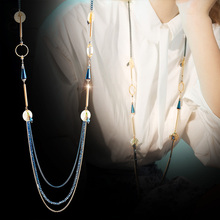 The SPECIAL New Fashion l north american wind-lake blue-geometry multi-layer llong-chain necklaces for women S1855N