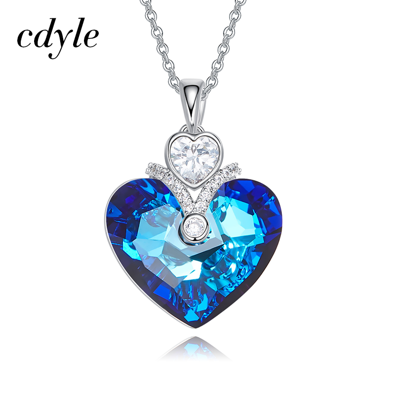 Cdyle Crystals From Swarovski Women Pendants & Necklaces Blue Color Heart Shaped Wedding Party Fashion Jewelry Bijoux Gift
