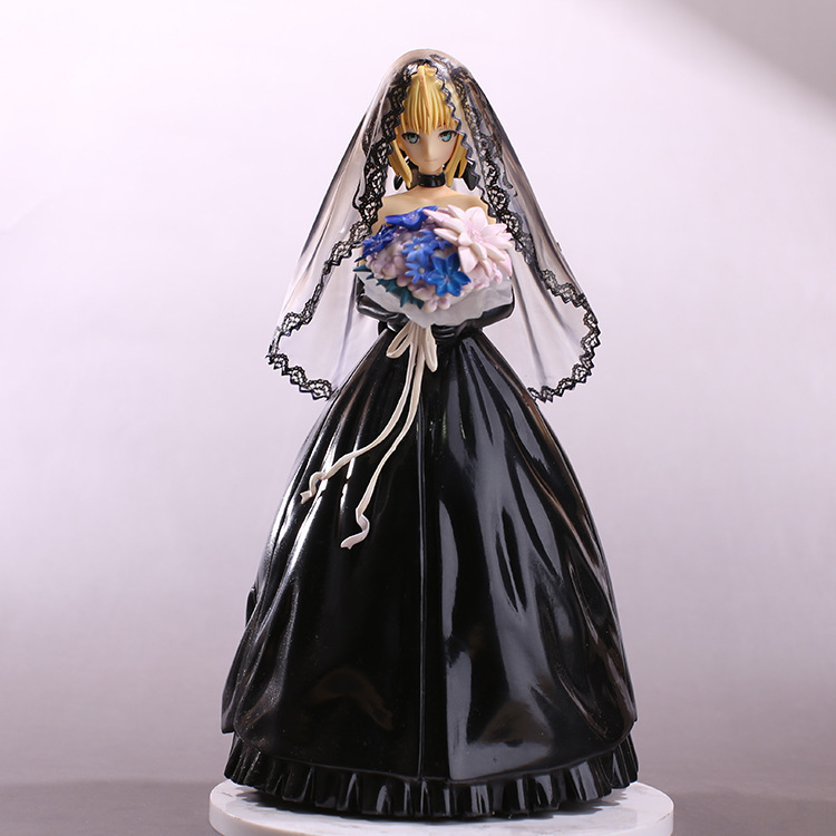 Anime Figure 25 CM Fate Stay Night Saber 10th Anniversary Black Wedding Dress Ver. Cute PVC Action Figure Collectible Model Toy new hot christmas gift 21inch 52cm bearbrick be rbrick fashion toy pvc action figure collectible model toy decoration