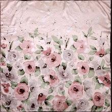 Чистый Шелковый шарф, женский шарф, акварельный цветок, шарф для волос, шелковый шарф, бандана,, Цветочный Шелковый Хиджаб, квадратный шелковый платок