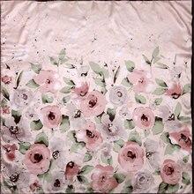 純粋な絹のスカーフ女性のスカーフ水彩花のヘアスカーフシルクネックバンダナ2019花シルクヒジャーブ正方形の絹のヘッドスカーフラップ