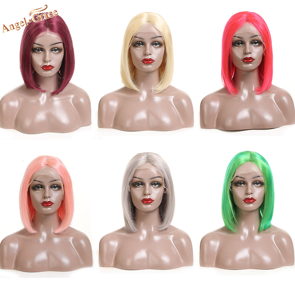 Angel Grace Hair Colorful Short Bob Wig Peruvian Remy Hair Straight Lace Front Human Hair Wigs For Women Bob Lace Front Wigs