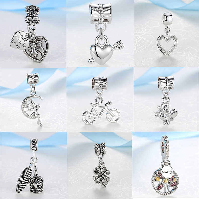 Fashion Silver Plated Bead Charm Love Heart Lucky Wing Dangle Pendant Charms Fit Pandora Bracelets Women Diy Jewelry