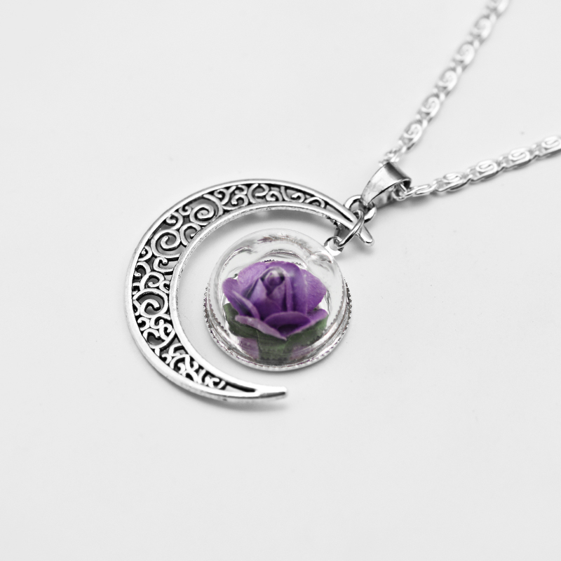 HouBian Fashion Moon Pendant Necklace Dlass Dried Flowers Custom Necklace Crystal Hollow Moon Necklace Jewelry Accessories