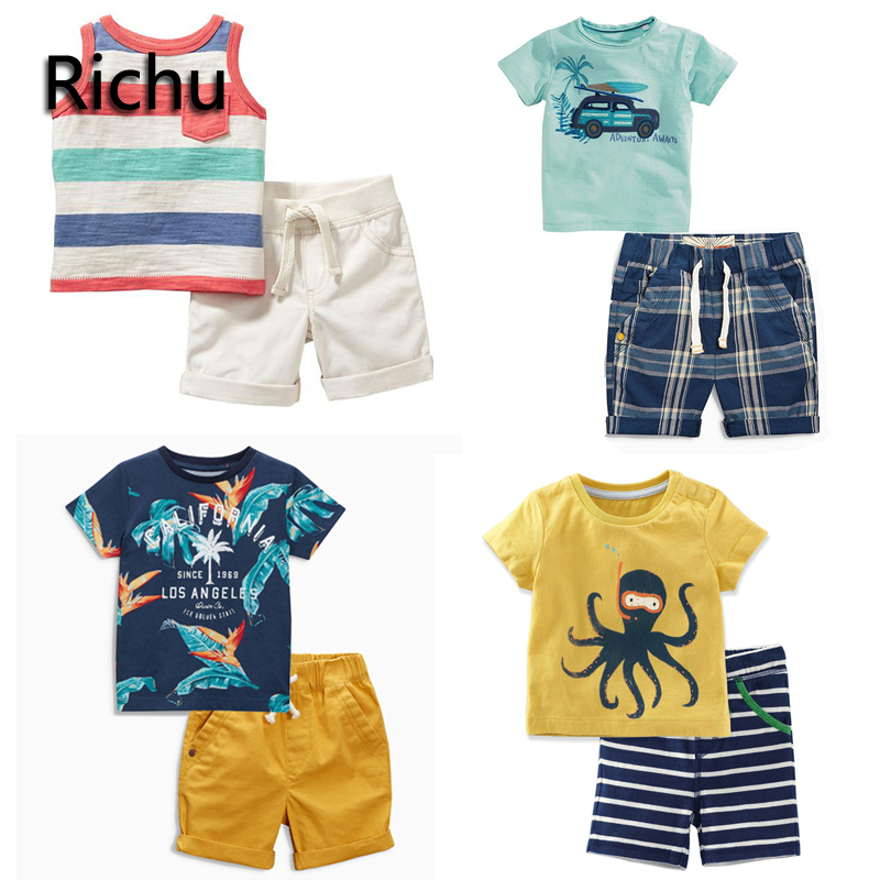 Richu summer clothes children 2 pieces shorts boys