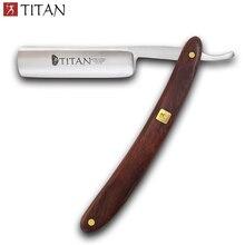 จัดส่งฟรีTitanไม้จับตรงมีดโกนใบมีดเหล็กSharpแล้ว