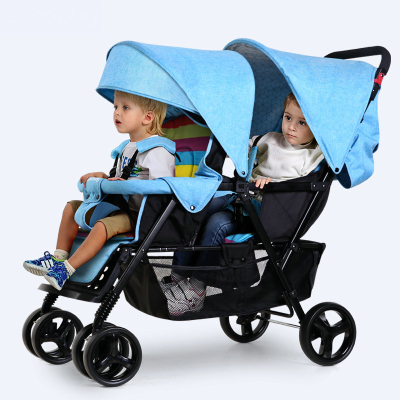 Twins Stroller with front and back seats, Fold Twins Stroller with good shock absorption, Portable Kids Stroller with EVA wheel fashion twins stroller four color to choose hot twins baby stroller with good shock absorption folded double child stroller