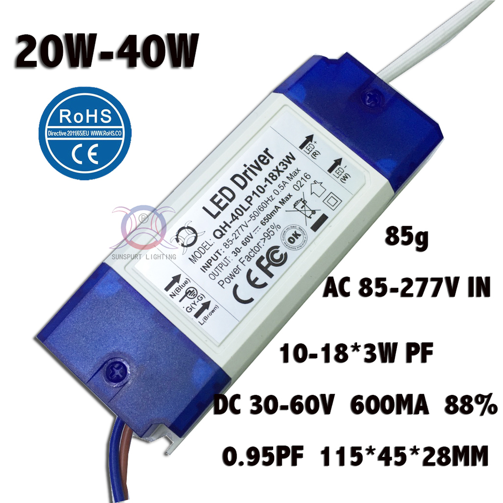 2 Pieces Isolation 20W-40W AC85-277V LED Driver 10-18x3W 600mA DC30-60V High PFC LED Power Supply For Floodlight Free Shipping