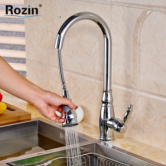 Bright Chrome Bathroom Kitchen Faucet Pull Out Sprayer Deck Mounted