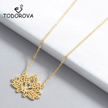 Todorova Hollow Lotus Flower OM Yoga Meditation Pendant Necklace for Women Jewelry Fashion Handmade Clavicle Chain Gift