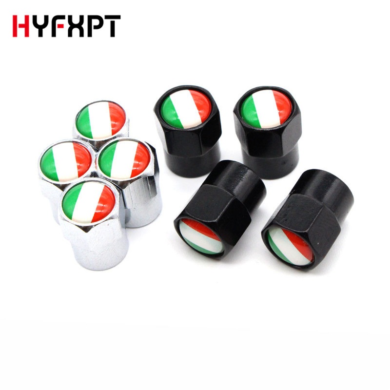 Italy Flag Metal Car Tire Valve Caps Car-Styling Auto Tyre Stems Cover Auto Accessories