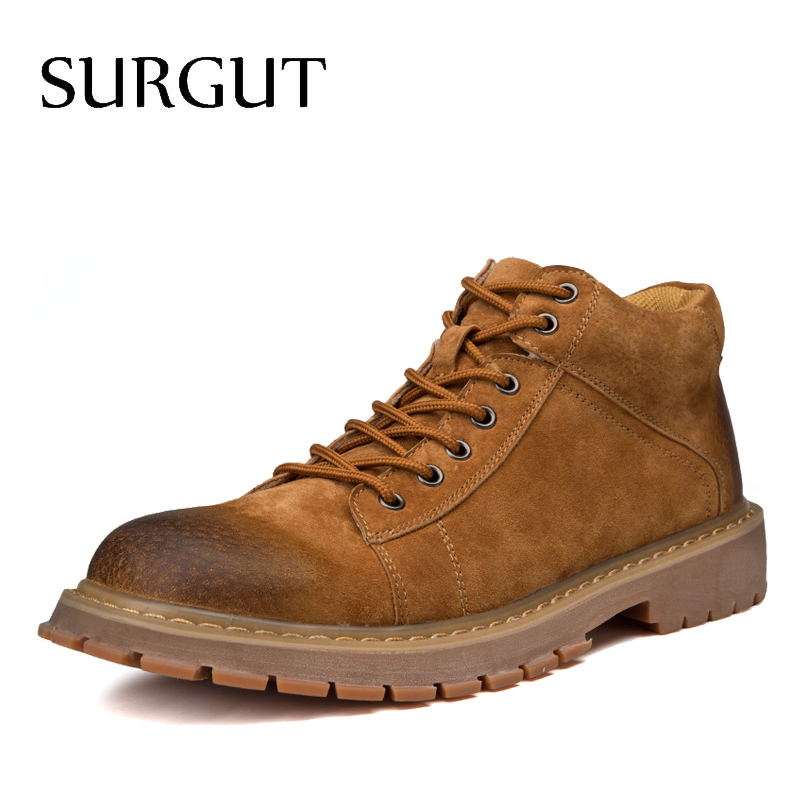 SURGUT Brand New High Quality Men Working Shoes Male Retro Sewing Lace Up Comfortable Breathable Autumn