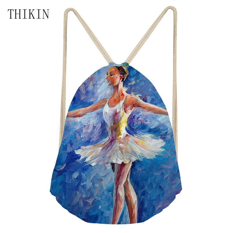 THIKIN Beauty Ballet Painting Design Sports Bag School Swimming Bags For Teen Girls Waterproof Backpack Kids Children Custom