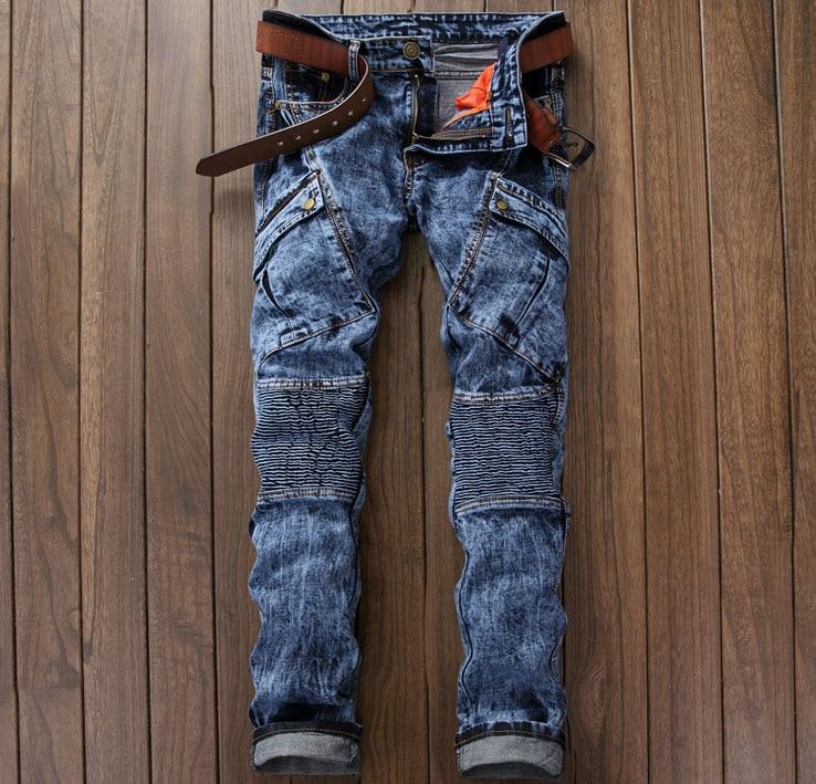 European American Style men jeans luxury brand Men's denim trousers Slim Straight pop blue gentleman Patchwork mens stripe jeans 2017 new designer korea men s jeans slim fit classic denim jeans pants straight trousers leg blue big size 30 34