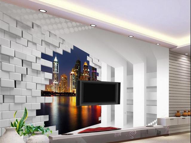 D behang voor kamer d stereo ruimte stad nacht achtergrond muur